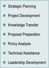 "alt=""Strategic Planning, Project Development, Knowledge Transfer, Proposal Preparation, Policy Analysis, Technical Assistance, Leadership Development"""